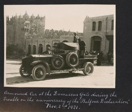 The early challenges to Sykes-Picot. Brtish armored car trying to restore order at Jerusalem's Damascus Gate, 1921 (Library of Congress)