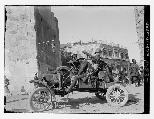 The early challenges to Sykes-Picot. British machine guns at Jaffa Gate in Jerusalem, 1920. (Library of Congress)