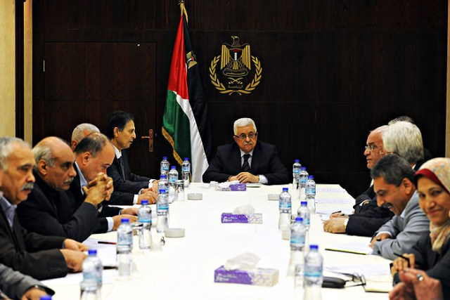 Abbas at a meeting of the Fatah Central Committee