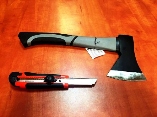Weapons taken off of would-be attacker in Jerusalem.