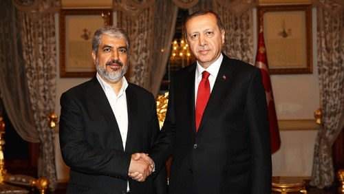Hamas' Khaled Mashal and Turkey's President Recep Tayyip Erdogan (Shafaf – Iran)
