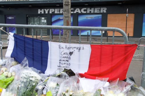 Makeshift memorial outside of Kosher Hyper Cacher Market in Paris, January, 2015