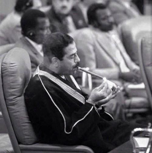 Saddam Hussein in his robe