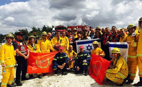 Participants in a joint Israel-Cyprus-Greek fire-fighting exercise held in Cyprus in April 2016.