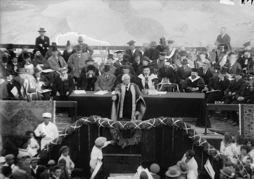 Lord Balfour declaring the opening of Hebrew University, April 1, 1925.