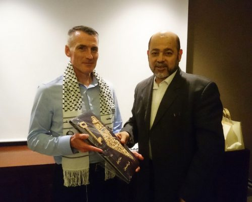 Declan Kearney meets with Dr. Musa Abu Marzouk