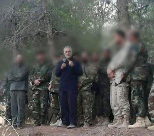 Soleimani addressing Hizbullah fighters in the Latakia region of Syria.