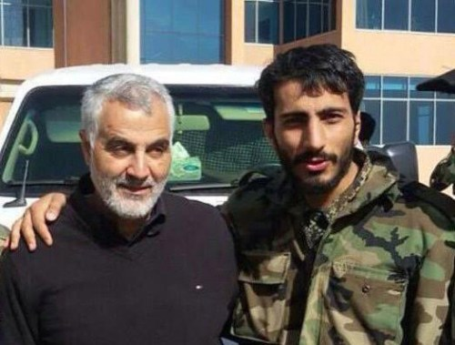 Soleimani with Mostafa Sadrzadeh, the Iranian commander of the Afghan expatriates Fatemiyoun Brigade