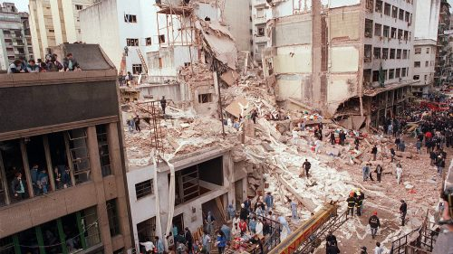 The AMIA building in Buenos Aires after the 1994 bombing.