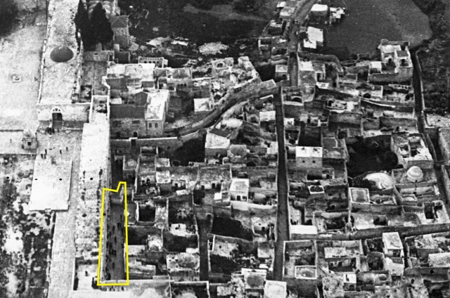 Aerial photo of Jerusalem's Mughrabi section