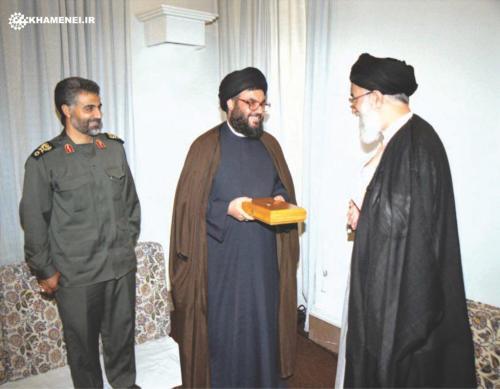 Soleimani, Nasrallah and Ayatollah Khamenei.
