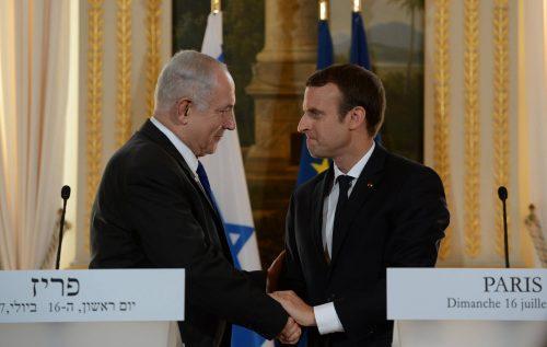Benjamin Netanyahu and Emmanuel Macron