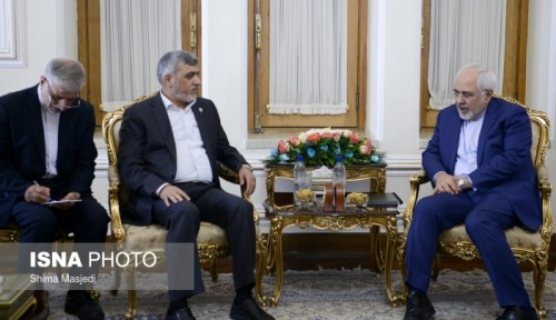Iranian Foreign Minister Zarif with Hamas' delegation to Tehran.