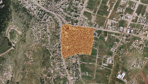 Aerial photograph of the Balata refugee camp in Nablus.