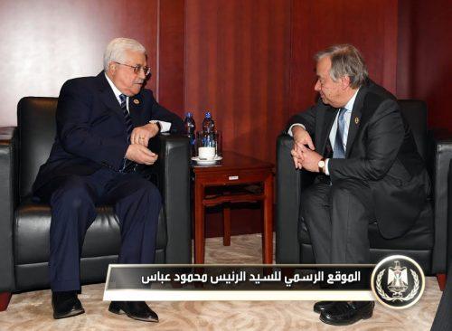 Mahmoud Abbas and Antonio Guterres in Addis Ababa