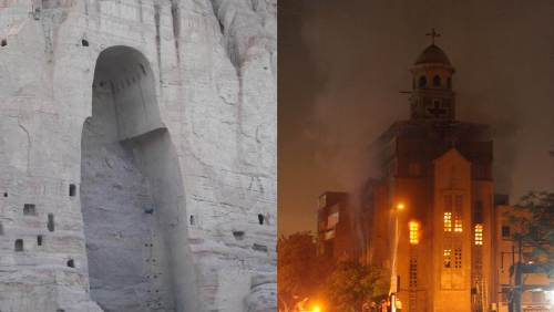 A Coptic church set aflame by Muslim Salafists