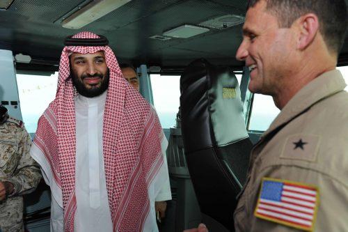 Mohammad bin Salman aboard the aircraft carrier USS Theodore Roosevelt