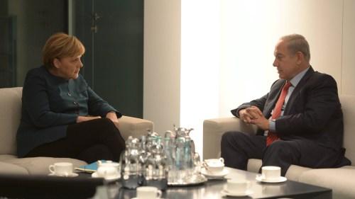 German Chancellor Angela Merkel meets with Israeli Prime Minister Benjamin Netanyahu.