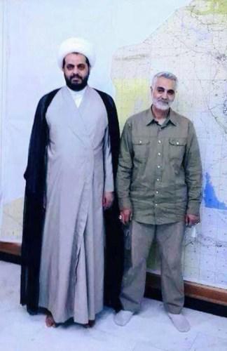 Al Khazali with Iran's Revolutionary Guard Commander, Qassem Soleimani