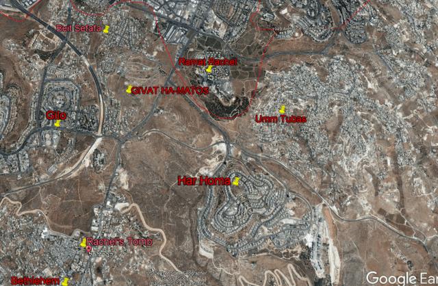Location of Givat Hamatos in southern Jerusalem