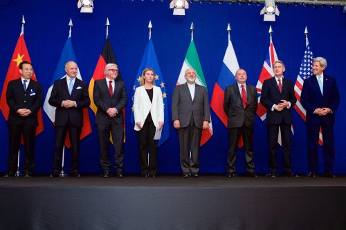 Center stage: The EU's Federica Mogherini and Iran's Foreign Minister Mohammad Javad Zarif