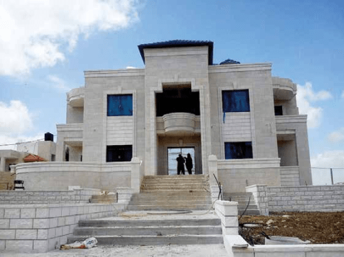A private Palestinian villa under construction in the Nablus District