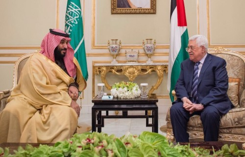 Saudi Crown Prince Mohammed bin Salman with Mahmoud Abbas