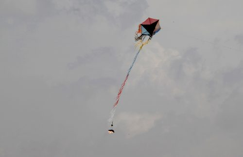 Kite with firebomb on its tail
