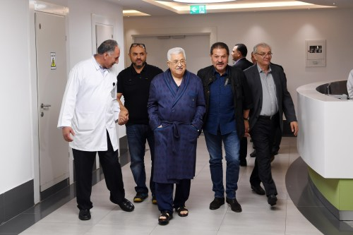 Mahmoud Abbas in the hospital in Ramallah.