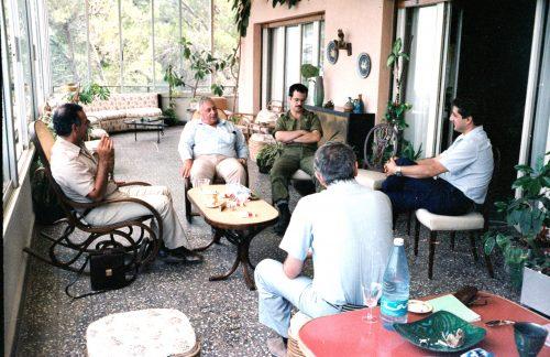 Bashir Gemayel (far right) and Ariel Sharon, 1982