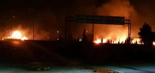 Burning IRGC base in Syria