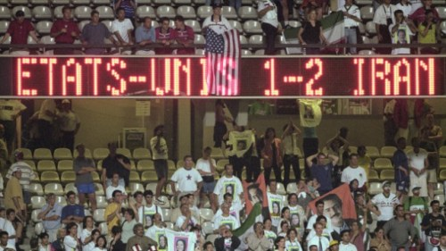 The final scoreboard at the 1998 match in France.