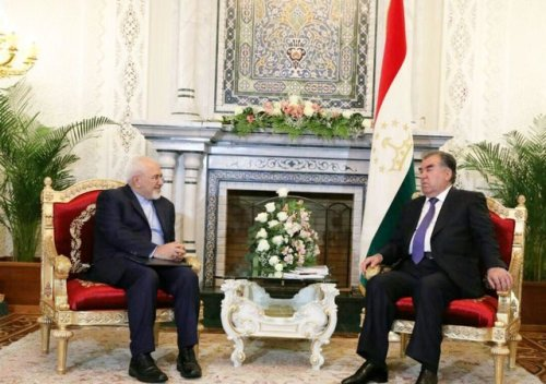 President Rahmon and Iran's Foreign Minister Javad Zarif, April 2018.