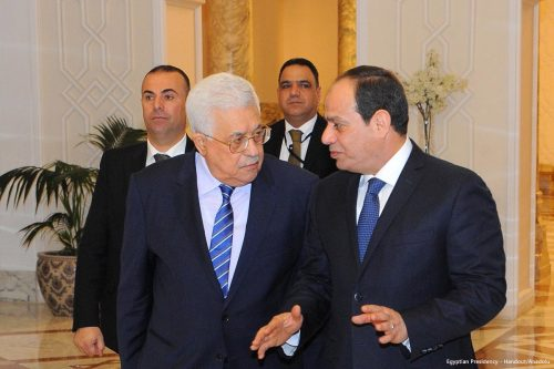 PA President Mahmoud Abbas and Egyptian President Abdel Fattah el-Sisi in 2017