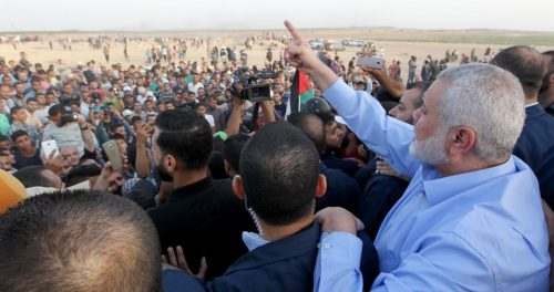 Ismail Haniyeh at the Israel-Gaza border