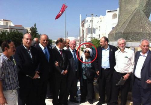 Corbyn at the wreath ceremony in Tunisia in 2014