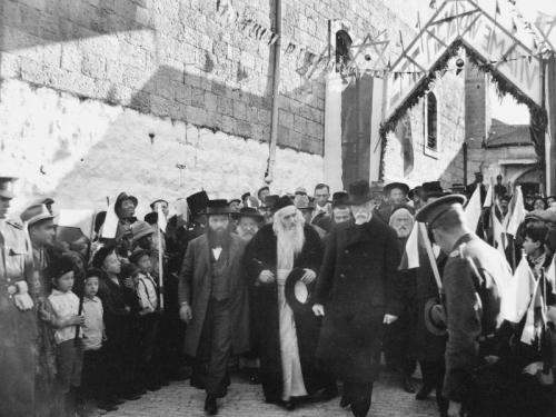 Tomas Garrigue Masaryk in the Old City of Jerusalem with Rabbi Yosef Chaim Sonnenfeld, 1927