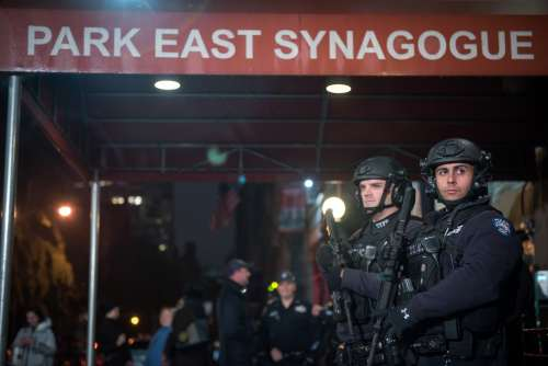 Police security outside of New York City's Park East Synagogue