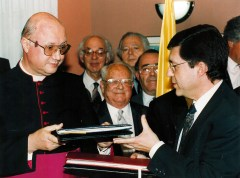 Monsignor Claudio Maria Celli and Deputy Foreign Minister Yossi Beilin