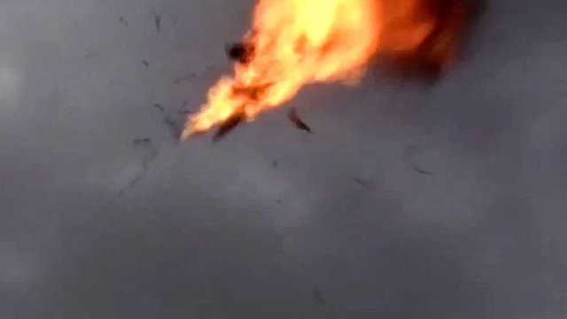 """Picture of a Houthi """"kamikaze"""" drone exploding"""