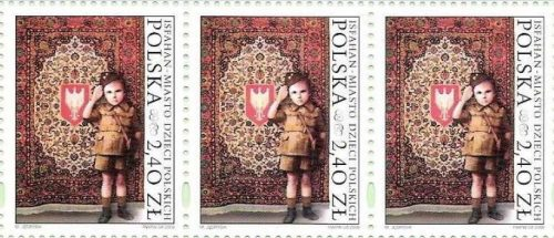 Polish postal stamps noting refugees in the Iranian city Isfahan