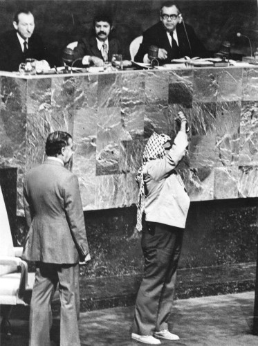 Arafat received at the United Nations General Assembly, November 13, 1974.