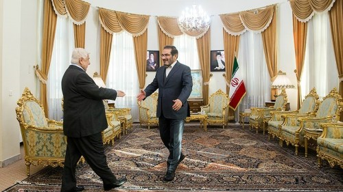 Syria's Foreign Minister meets Iran's National Security Council Secretary on February 5, 2019 in Tehran.