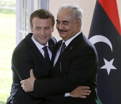 French President Emmanuel Macron and General Khalifa Haftar in 2017