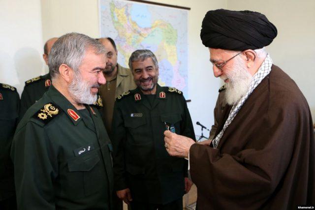 Fadavi receives a medal from the Supreme Leader Khamenei