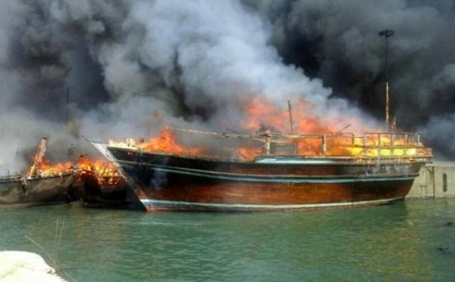 Iranian boats ablaze