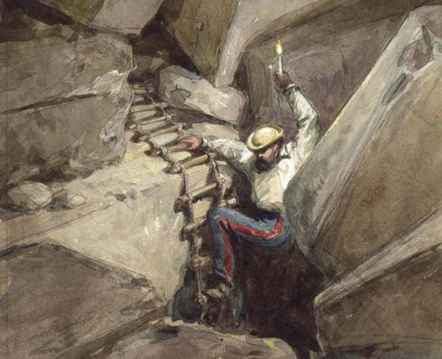 Painting of Charles Warren exploring beneath Robinson's Arch