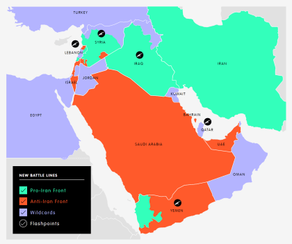 The expansion of Iran's defense lines.