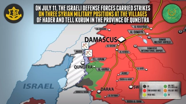 Map showing sites of Israeli attacks in 2018 in the Quneitra province