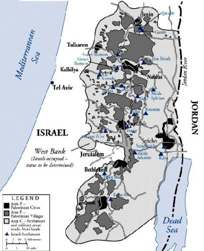Areas A, B, and C according to the Oslo Accords